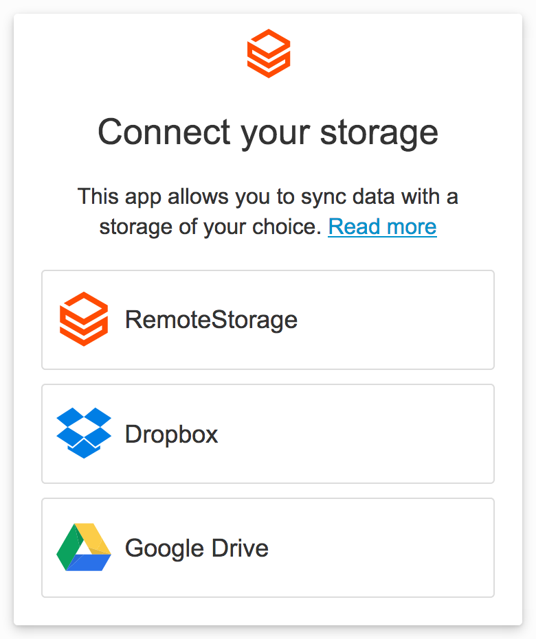 Offering Dropbox and Google Drive storage options — remoteStorage js